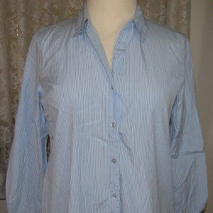 LIGHT BLUE PEN-STRIPED Cotton Shirt Size XL